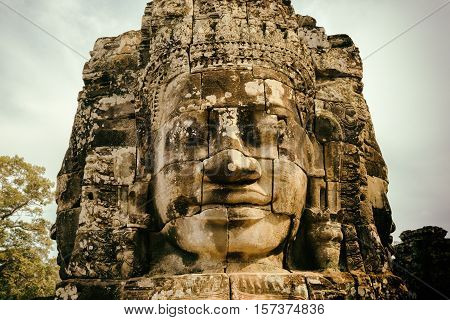 Enigmatic Smiling Giant Stone Face Of Bayon Temple, Angkor Thom