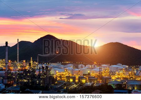 Oil refinery industry at night in Chonburi Thailand.