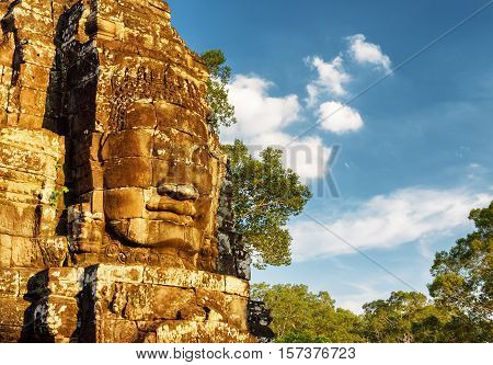 Giant Stone Face Of Bayon Temple. Angkor Thom, Cambodia