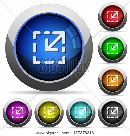 Resize element icons in round glossy buttons with steel frames