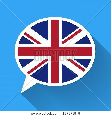 White speech bubble with Great Britain flag and long shadow on blue background. English language conceptual illustration.