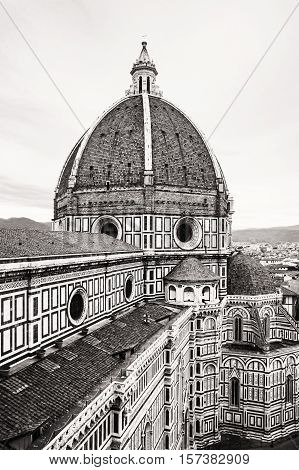 Cattedrale di Santa Maria del Fiore is the main church of Florence Italy. Black and white photo. Architectural theme. Travel destination.