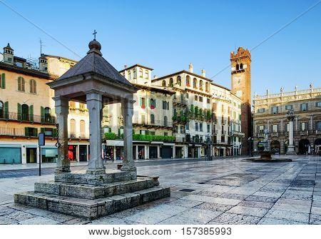 Ancient Aedicula On Piazza Delle Erbe In Verona, Italy