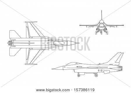 Outline drawing of military aircraft. Top side front view. Vector illustration