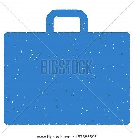 Case grainy textured icon for overlay watermark stamps. Flat symbol with dust texture. Dotted vector cobalt ink rubber seal stamp with grunge design on a white background.