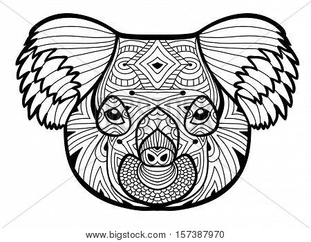 The head of the Koala. Totem coloring page for adults. Monochrome hand-drawn ink drawing.