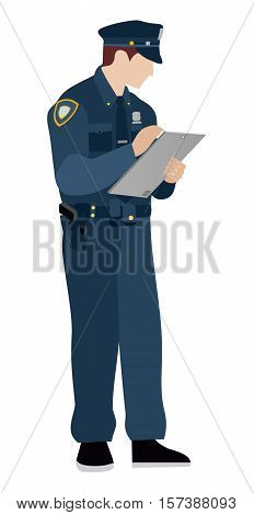 Policeman on a white background. Flat. Police officer fills in the information on the tablet