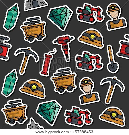 Colored Mining pattern with miner hammer truck bulldozer isolated vector illustration