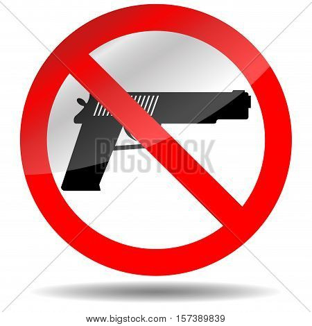 Ban of weapons pistol. Gun is warning restriction and danger vector illustration