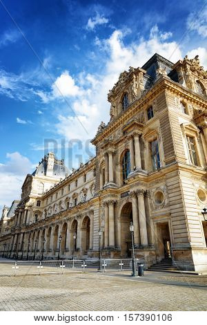 The Facade Of The Pavilion Mollien Of The Louvre Museum In Paris, France