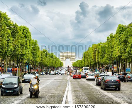 The View Of The Triumphal Arch To The Champs-elysees. Paris, France