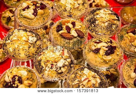 Desserts With Cheese And Almonds For Sale In The Stall Of Typica
