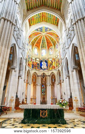 Arches And Columns In The Interior Of The Cathedral Of Saint Mary The Royal Of La Almudena In Madrid
