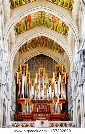 The Pipe Organ In The Interior Of The Cathedral Of Saint Mary The Royal Of La Almudena In Madrid