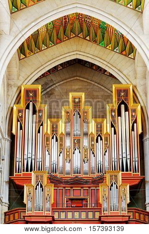 Closeup View Of The Pipe Organ In The Cathedral Of Saint Mary The Royal Of La Almudena In Madrid