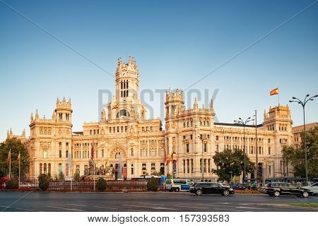 Main View Of The Cybele Palace In Madrid, Spain