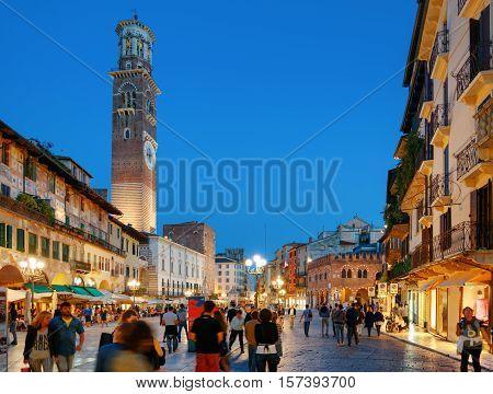 Torre Dei Lamberti And Piazza Delle Erbe In Verona, Italy
