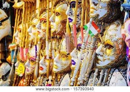 Venetian Masks In Shop On The Rialto Bridge, Venice, Italy