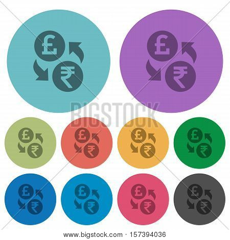 Pound Rupee exchange flat icons on color round background.