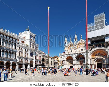 The Clock Tower And The Cathedral Basilica Of Saint Mark, Venice