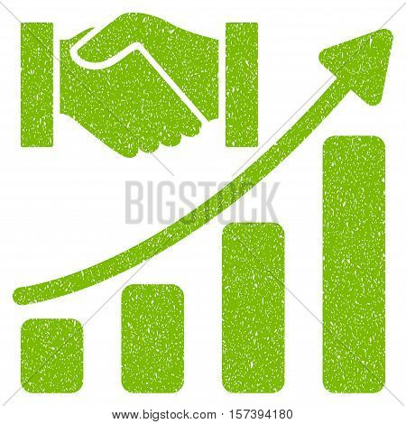 Acquisition Hands Growth Chart grainy textured icon for overlay watermark stamps. Flat symbol with dust texture. Dotted vector eco green ink rubber seal stamp with grunge design on a white background.