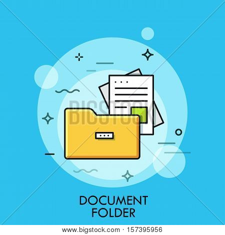 Document folder, flat design thin line banner, usage for e-mail newsletters, web banners, headers, blog posts, print and more