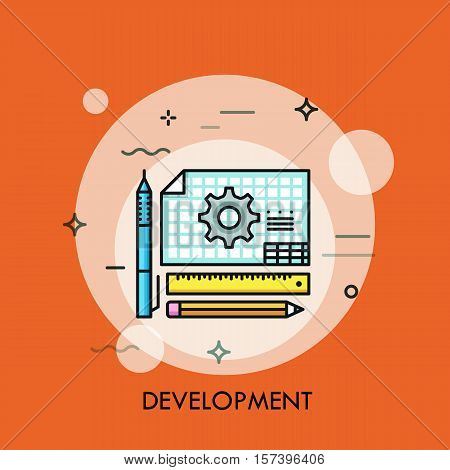 Pen, pencil, ruler and engineer drawing flat design thin line banner, usage for development, designing, engineering. Modern style logo vector illustration concept.