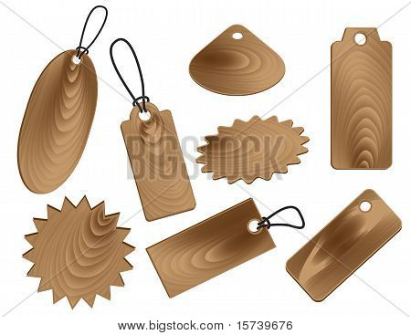 Price Tags In Wood Grain Textures Style