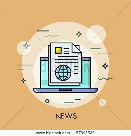 Modern thin line design concept for e-news. Vector illustration with laptop and newspaper. Modern vector illustration for website and mobile website banners, easy to edit, customize and resize.