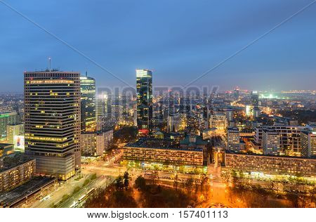 Warsaw, Poland - November 5, 2016: Aerial view of Warsaw in the soft evening light.