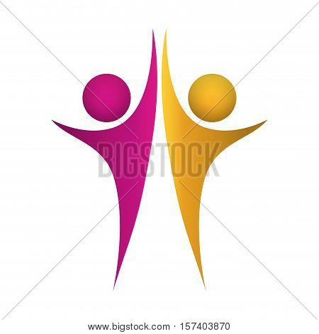 moment of triumph between abstract figute human vector illustration