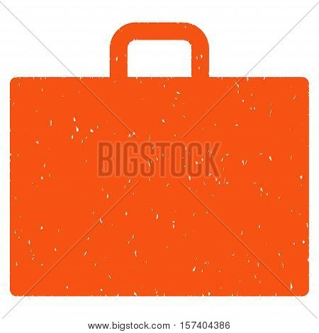 Case grainy textured icon for overlay watermark stamps. Flat symbol with unclean texture. Dotted vector orange ink rubber seal stamp with grunge design on a white background.