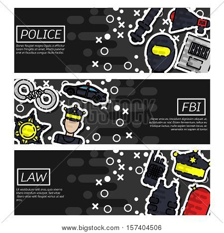 Set of Horizontal Banners about police vector illustration