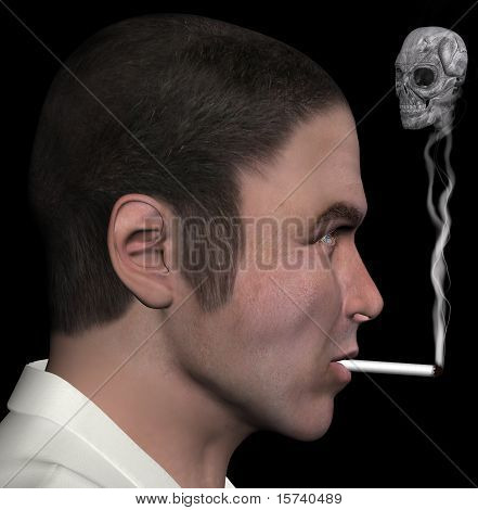 Man And Smoke Skull 3D Illustration