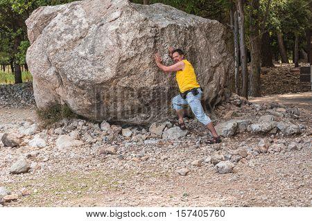 Large boulders erratic boulder erosion originated in the Serra de Tramuntana in Mallorca.