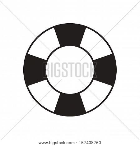 Flat icon in black and  white Lifebuoy