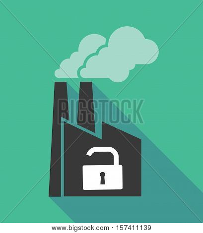 Factory Icon With An Open Lock Pad