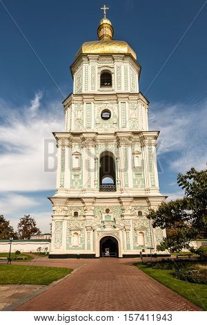 Bell tower of the orthodox Sofia cathedral in Kiev Ukraine