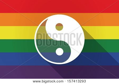 Long Shadow Lgbt Flag With A Ying Yang