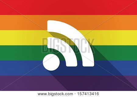 Long Shadow Lgbt Flag With An Rss Sign