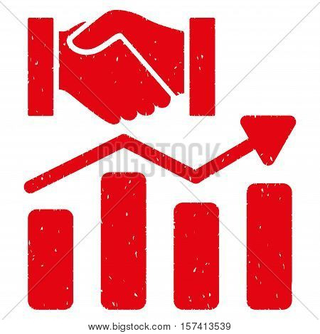 Acquisition Hands Graph Trend grainy textured icon for overlay watermark stamps. Flat symbol with dust texture. Dotted vector red ink rubber seal stamp with grunge design on a white background.