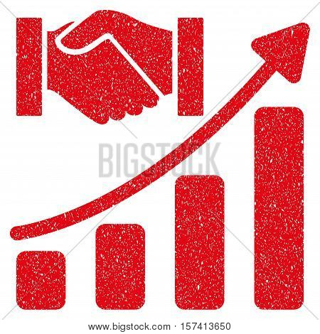 Acquisition Hands Growth Chart grainy textured icon for overlay watermark stamps. Flat symbol with dirty texture. Dotted vector red ink rubber seal stamp with grunge design on a white background.