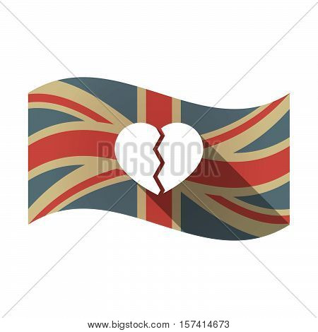 Isolated Uk Flag With A Broken Heart