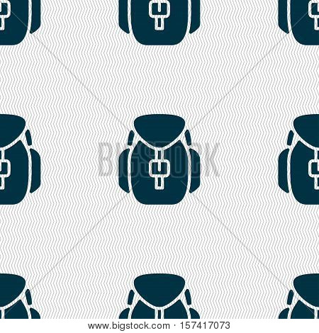 Backpack Icon Sign. Seamless Pattern With Geometric Texture. Vector
