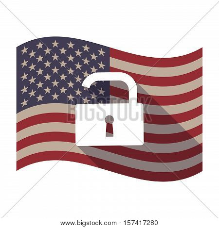 Long Shadow Usa Flag With An Open Lock Pad