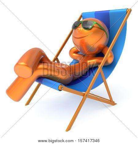 Man relaxing beach deck chair smile cartoon character chilling stylized summer sunglass person sun lounger tourist sunbathe rest outdoor vacation lifestyle travel daydream destination. 3d illustration
