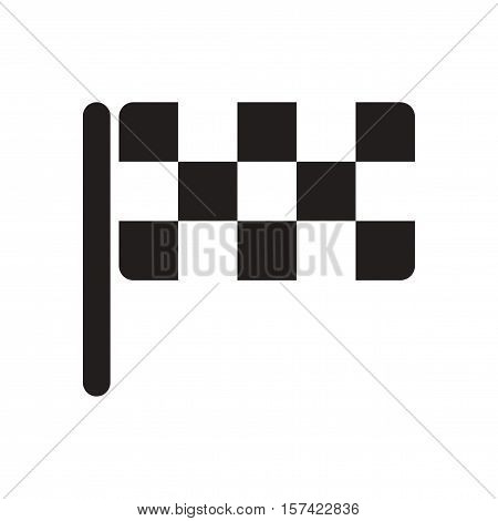 Flat icon in black and  white checkered flag