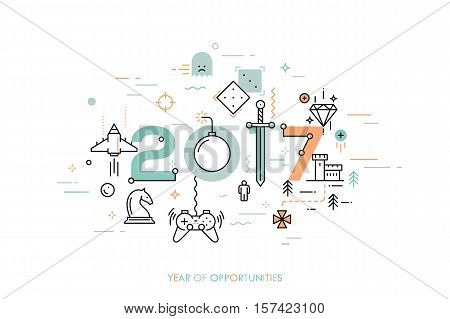 Infographic concept 2017 year of opportunities. New trends and prospects in game development, online gaming, game streaming applications, internet competitions for gamers. Vector illustration.