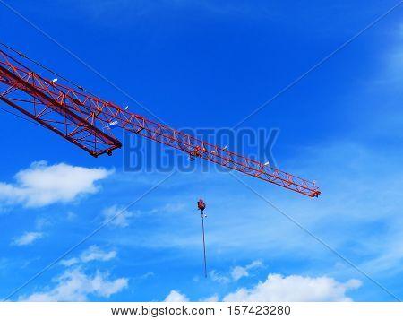 It is a very high crane. On the hook is a little bear.
