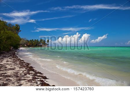 Tropical island resort waterfront beach landscape perspective view, Cuba vacation, Cayo Guillermo island, Cuba August 2016